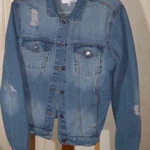 Distressed Jean Jacket, size L